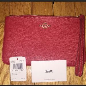 NWT Authentic Red Coach Wristlet